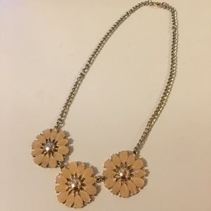 Peach and Gold Floral Statement Necklace
